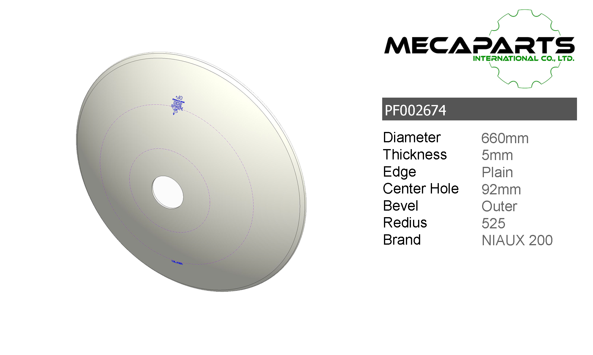 PF002674 Disc Plain 660x5, Round Center Hole 92mm Image